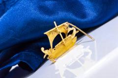 Zolatas Zolotas 18 Karat Handmade Gold Ancient Greek Warship Oar Boat Brooch Pin - 1005189