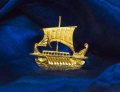 Zolatas Zolotas 18 Karat Handmade Gold Ancient Greek Warship Oar Boat Brooch Pin - 1005190