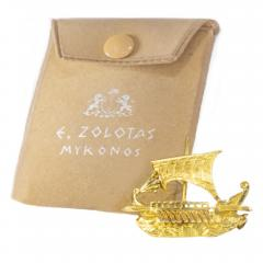 Zolatas Zolotas 18 Karat Handmade Gold Ancient Greek Warship Oar Boat Brooch Pin - 1005191