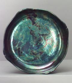 Zsolnay Art Nouveau Zsolnay Porcelain Green Iridescent Centerpiece - 515246