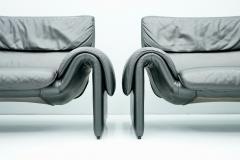 de Sede Black Two Seat Leather Sofa by De Sede Switzerland - 1709639