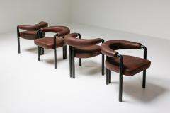 de Sede De Sede dining chairs by Nienkamper in brown leather and black tubular steel - 2019260