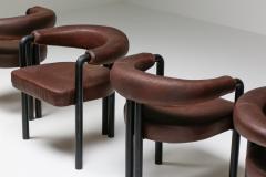 de Sede De Sede dining chairs by Nienkamper in brown leather and black tubular steel - 2019261