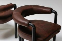 de Sede De Sede dining chairs by Nienkamper in brown leather and black tubular steel - 2019265