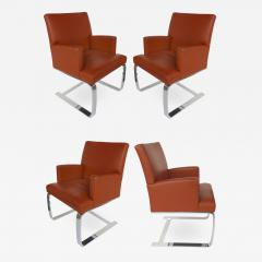 de Sede De Sede of Switzerland Cantilevered Leather and Stainless Steel Chairs 4 - 1074392