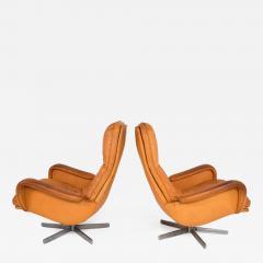 de Sede Midcentury Set of Two De Sede S 231 James Bond Swivel Arm Lounge Chairs 1960s - 1177646