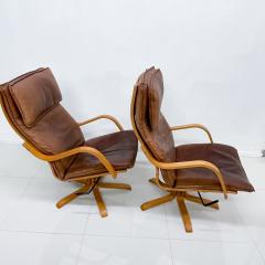 de Sede Style de Sede Tall Leather Lounge Chairs Blonde Wood Star Base Italy 1960s - 1983963