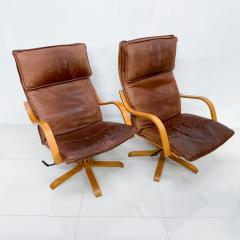 de Sede Style de Sede Tall Leather Lounge Chairs Blonde Wood Star Base Italy 1960s - 1983964