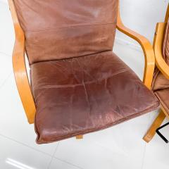 de Sede Style de Sede Tall Leather Lounge Chairs Blonde Wood Star Base Italy 1960s - 1983965