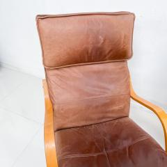 de Sede Style de Sede Tall Leather Lounge Chairs Blonde Wood Star Base Italy 1960s - 1983966