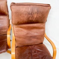 de Sede Style de Sede Tall Leather Lounge Chairs Blonde Wood Star Base Italy 1960s - 1983967