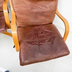 de Sede Style de Sede Tall Leather Lounge Chairs Blonde Wood Star Base Italy 1960s - 1983968