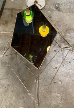 ma 39 Italian Rhomboidal sculptural brass and glass coffee table  - 1171508