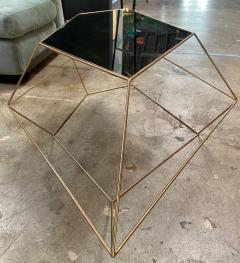 ma 39 Italian Rhomboidal sculptural brass and glass coffee table  - 1171509