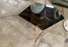 ma 39 Italian Rhomboidal sculptural brass and glass coffee table  - 1171511