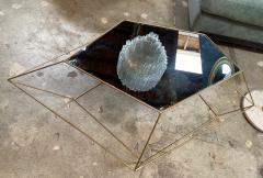 ma 39 Italian Rhomboidal sculptural brass and glass coffee table  - 1171512