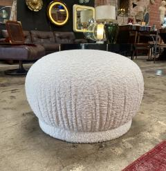 ma 39 Ma39 Ottoman in Carved Wood and White Sheep Italy 21st Century - 1271811