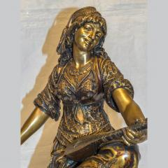 mile Coriolan Hippolyte Guillemin Fine Quality Pair of Patinated Bronze of Female Gypsies - 1436238