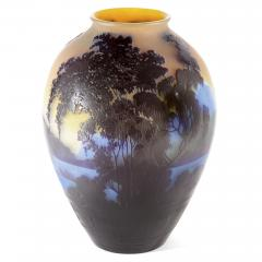 mile Gall French glass vase with cameo relief design by mile Gall  - 1256125