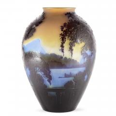 mile Gall French glass vase with cameo relief design by mile Gall  - 1256127