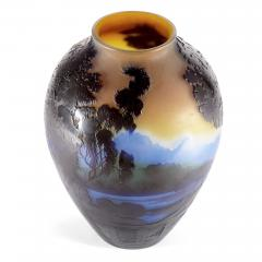 mile Gall French glass vase with cameo relief design by mile Gall  - 1256130