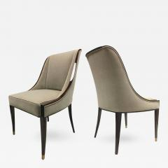 mile Jacques Ruhlmann E J Ruhlmann Stamped Pair of Solid Macassar Chairs with Refined Details - 392239