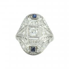 0 63 CTW Diamond and Sapphire Platinum Art Deco Ring - 172149