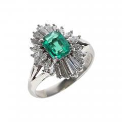 0 67 CARAT RECTANGULAR EMERALD CUT EMERALD AND DIAMOND COCKTAIL RING PLATINUM - 1888100