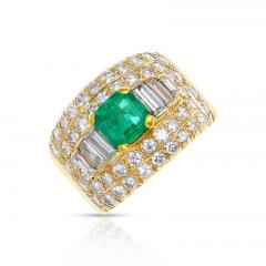 1 15 CT SQUARE CUT EMERALD WITH 2 CT DIAMOND WIDE BAND COCKTAIL RING - 2086708
