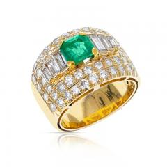 1 15 CT SQUARE CUT EMERALD WITH 2 CT DIAMOND WIDE BAND COCKTAIL RING - 2086709