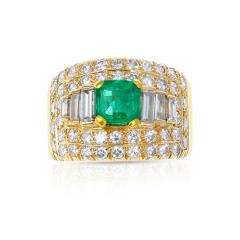 1 15 CT SQUARE CUT EMERALD WITH 2 CT DIAMOND WIDE BAND COCKTAIL RING - 2086710