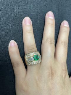 1 15 CT SQUARE CUT EMERALD WITH 2 CT DIAMOND WIDE BAND COCKTAIL RING - 2086711