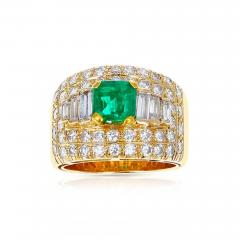 1 15 CT SQUARE CUT EMERALD WITH 2 CT DIAMOND WIDE BAND COCKTAIL RING - 2086888