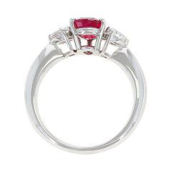 1 27 Carat Pear Shape Ruby and Diamond Three Stone Engagement Ring Platinum - 1795427