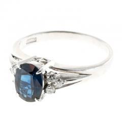 1 45 Carat Cornflower Oval Blue Sapphire Diamond Platinum Engagement Ring - 396502