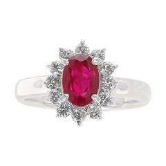 1 54 Carat Oval Ruby Engagement Ring with Diamond Halo Platinum - 1795416