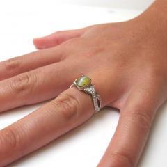 1 73 Carat Oval Cats Eye Chrysoberyl Cabochon and Diamond 18k White Gold Ring - 1416688