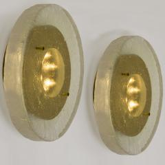 1 of the 2 of Fused Massive Bullseye Glass and Brass Wall Lights Flush Mounts - 1013099