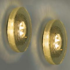 1 of the 2 of Fused Massive Bullseye Glass and Brass Wall Lights Flush Mounts - 1013101