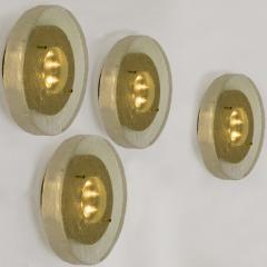 1 of the 2 of Fused Massive Bullseye Glass and Brass Wall Lights Flush Mounts - 1013107