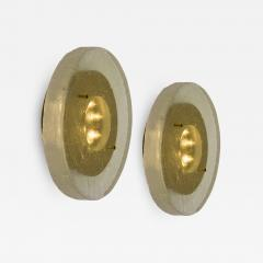 1 of the 2 of Fused Massive Bullseye Glass and Brass Wall Lights Flush Mounts - 1029006