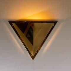 1 of the 6 Pyramid Shaped Massive Brass Wall Lamps 1970s - 1170744