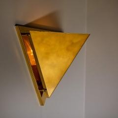 1 of the 6 Pyramid Shaped Massive Brass Wall Lamps 1970s - 1170745