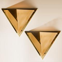 1 of the 6 Pyramid Shaped Massive Brass Wall Lamps 1970s - 1170746