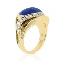 10 48 CT SAPPHIRE CABOCHON AND 0 54 CT DIAMOND COCKTAIL RING 18K YELLOW GOLD - 2077471
