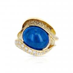 10 48 CT SAPPHIRE CABOCHON AND 0 54 CT DIAMOND COCKTAIL RING 18K YELLOW GOLD - 2077724