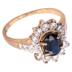 10 Karat Yellow and White Gold Onyx Solitaire Ring with Diamond Accents - 1241955