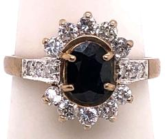 10 Karat Yellow and White Gold Onyx Solitaire Ring with Diamond Accents - 1241957