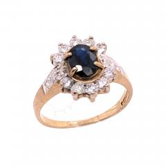 10 Karat Yellow and White Gold Onyx Solitaire Ring with Diamond Accents - 1242746