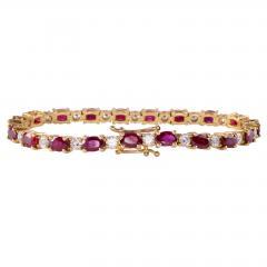 12 0 CTW Ruby and 2 50 CTW Diamond 18K Line Bracelet - 2007471